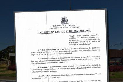 Imagem ilustrativa do decreto do prefeito de Barra do Garças - MT, desta terça-feira 12/05/2020