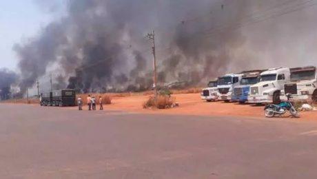Incêndio atinge o terminal ferroviário de Rondonópolis - MT